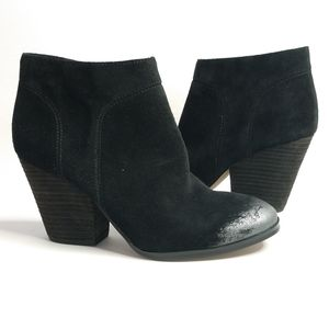 Isola black suede leather booties